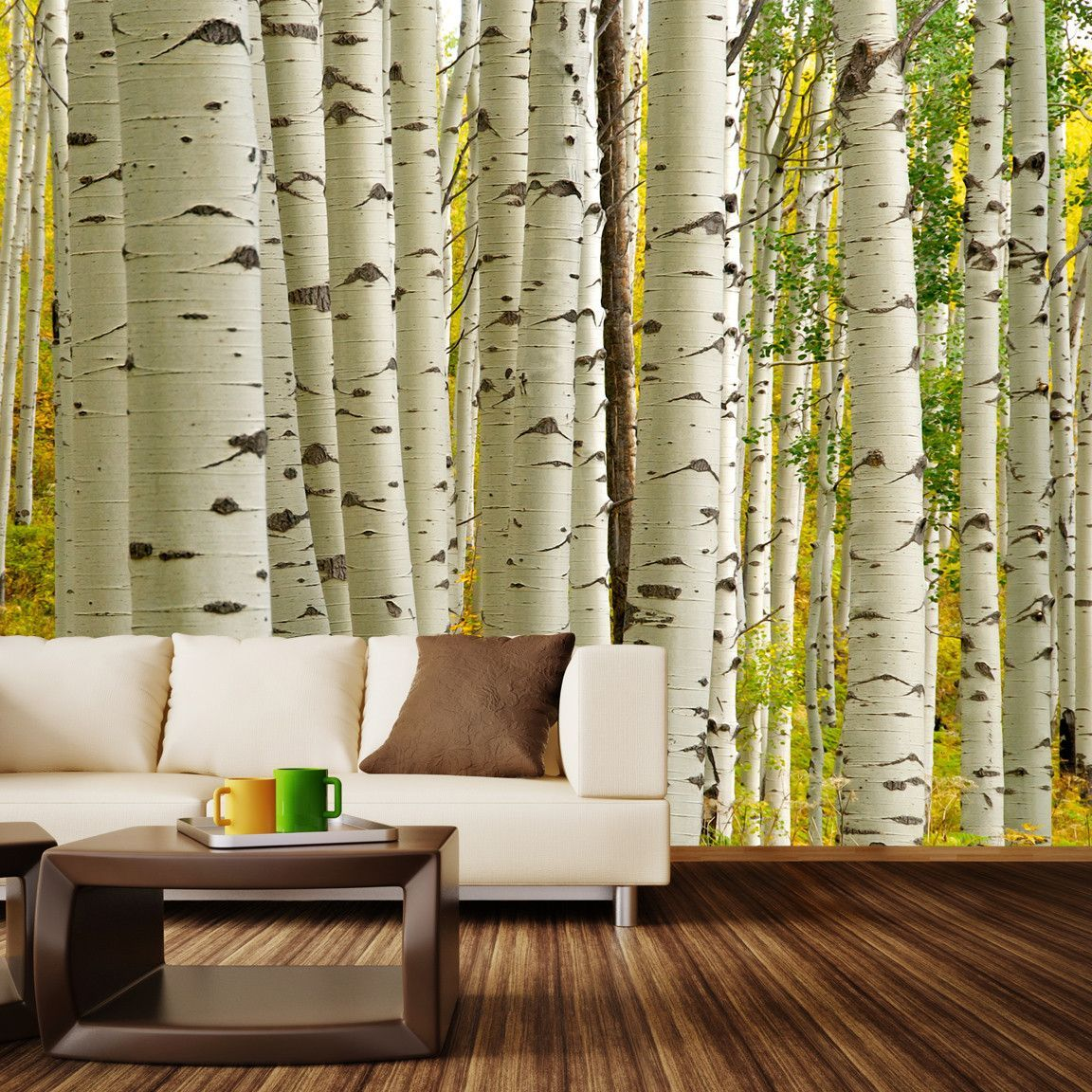 One for the dreamers wall mural decal wall mural decals for Birch tree forest wall mural