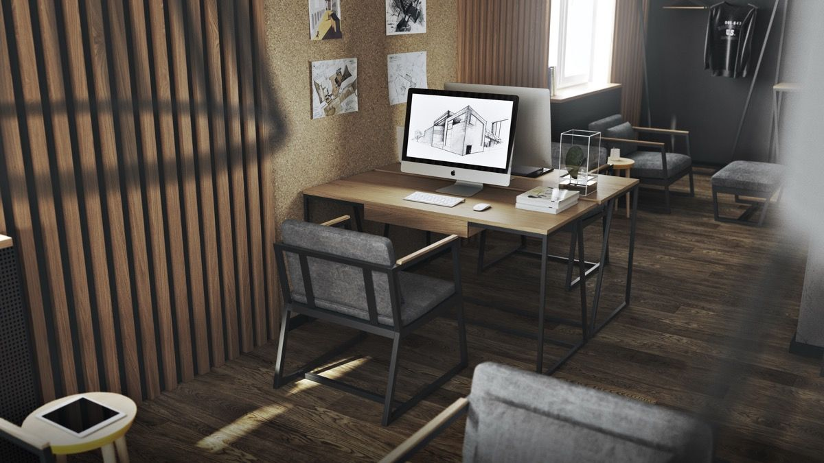 36 Inspirational Home Office Workspaces That Feature 2 Person Desks Office Interior Design Home Office Design Office Workspace