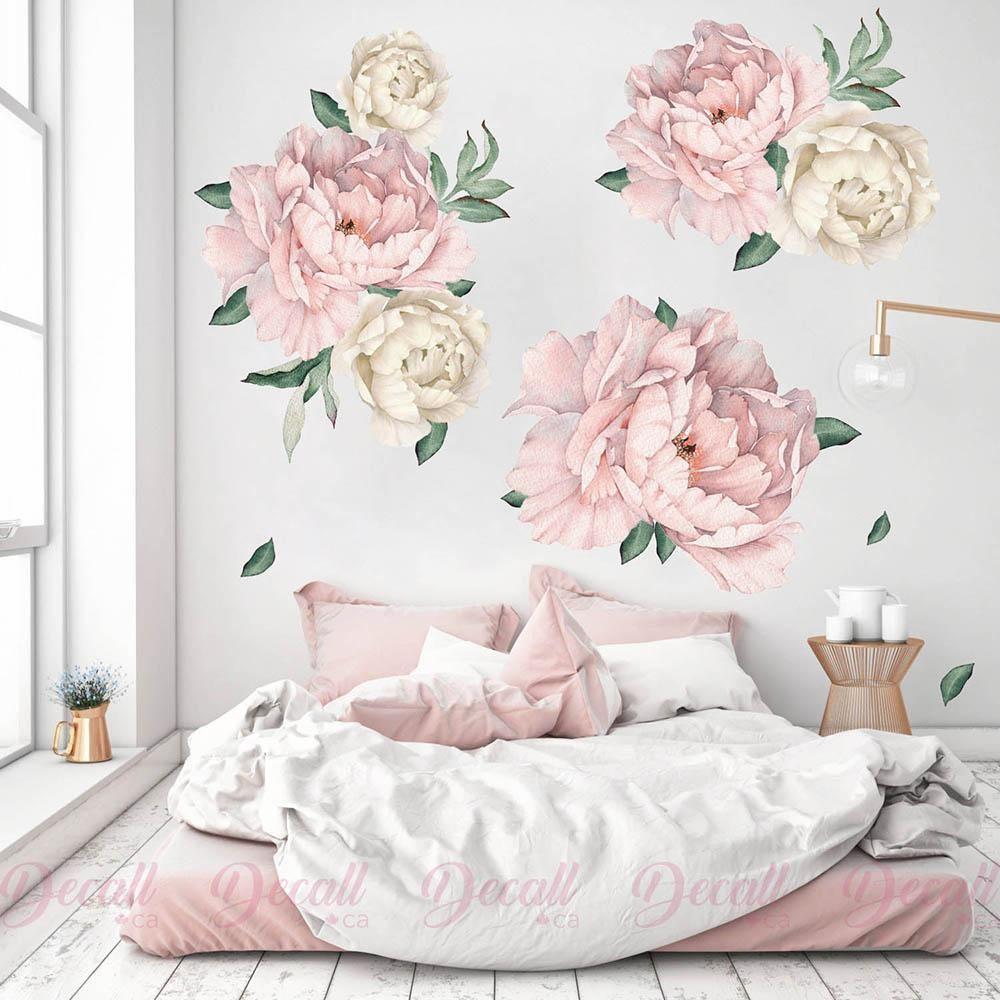 Pink White Peony Flowers Wall Sticker Watercolor Peel