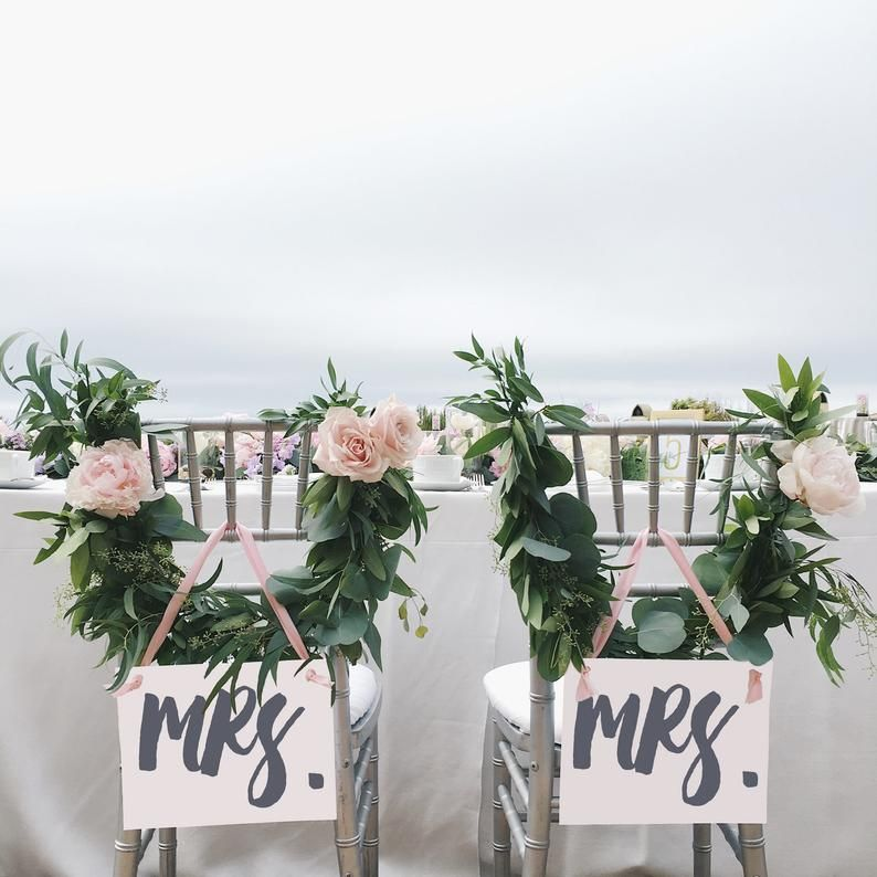 Mrs. & Mrs. Chair Signs  Mrs and Mrs LGBTQ Lesbian Wedding  | Etsy