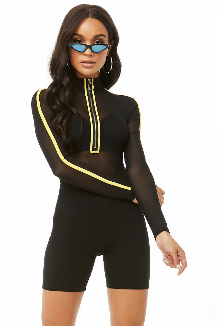 514975c26b4 Mesh Striped-Trim Bodysuit Latest Trends, Wetsuit, Forever 21, Mesh,  Leggings