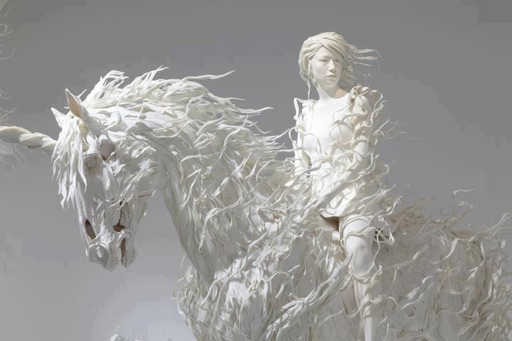 Paper Sculpture of Horse and child