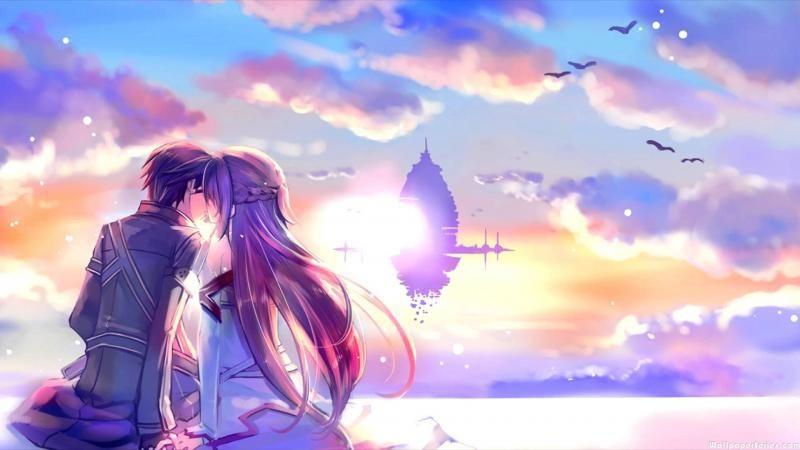 HD Asuna And Kirito Kiss Sword Art Online Wallpaper