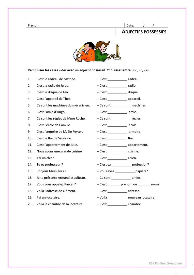 ADJECTIFS POSSESSIFS   Fle, Fiches et Exercices