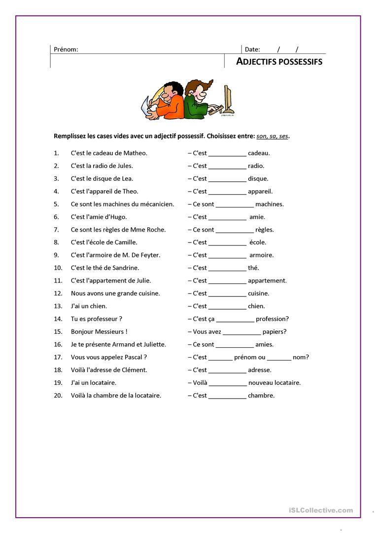 ADJECTIFS POSSESSIFS | Les adjectifs possessifs, Adjectifs ...