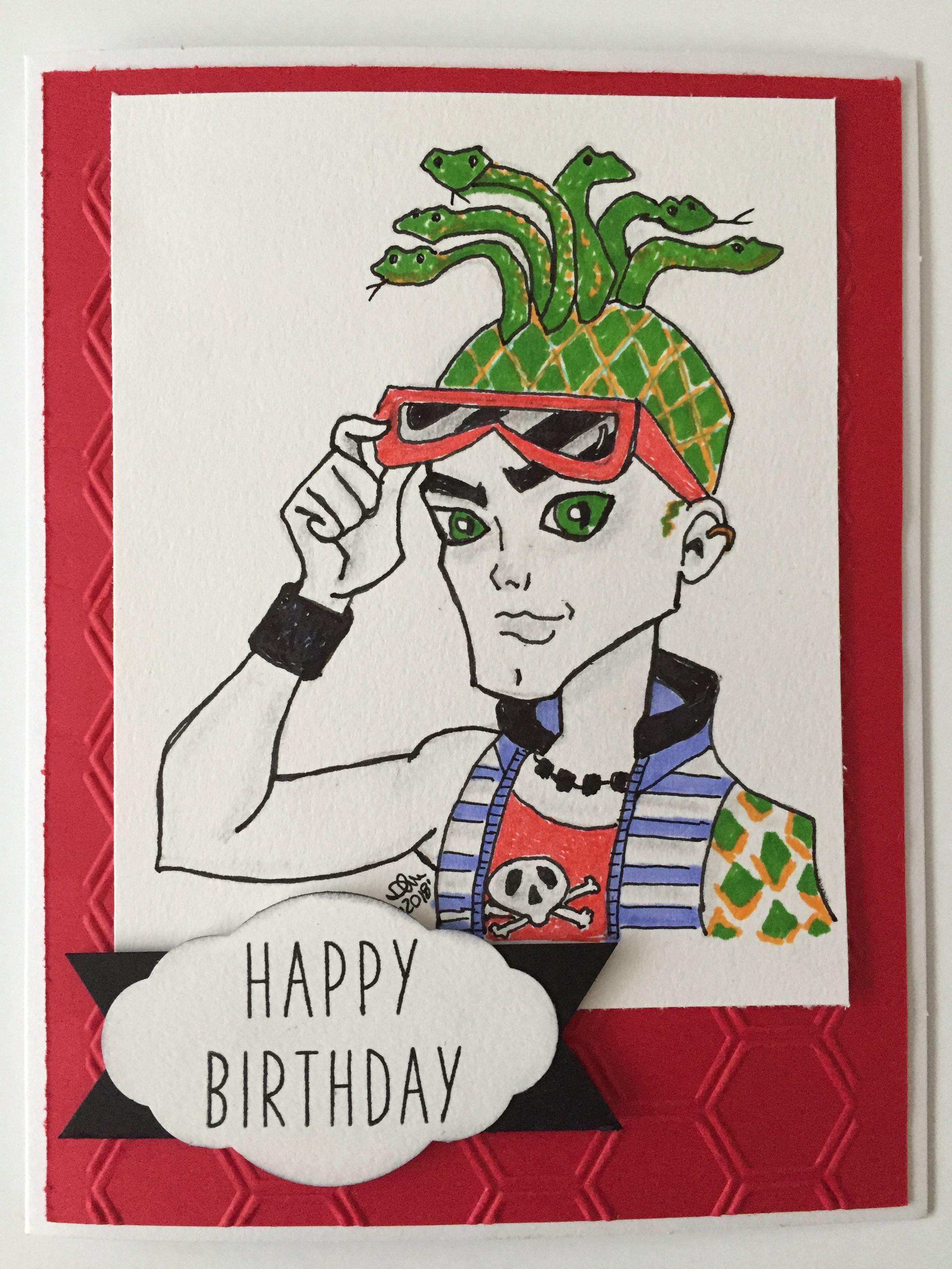 Deuce Gorgon Character Birthday Card Birthday Cards Cards Cards Handmade