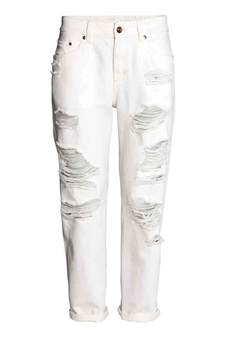 Boyfriend Low Ripped Jeans Calças De Ganga Rasgadas