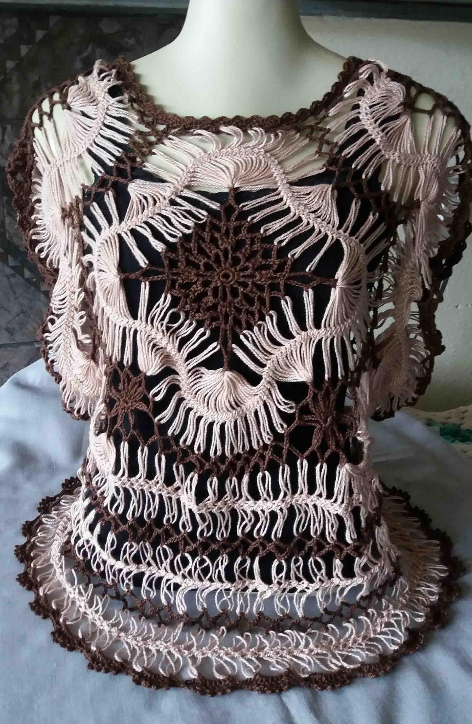 Blusa bege com marrom de croch de grampo blusa crochet blusa bege com marrom de croch de grampo hairpin crochet patternlace bankloansurffo Image collections