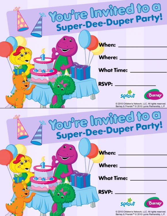 Barney Friends Party Invitation