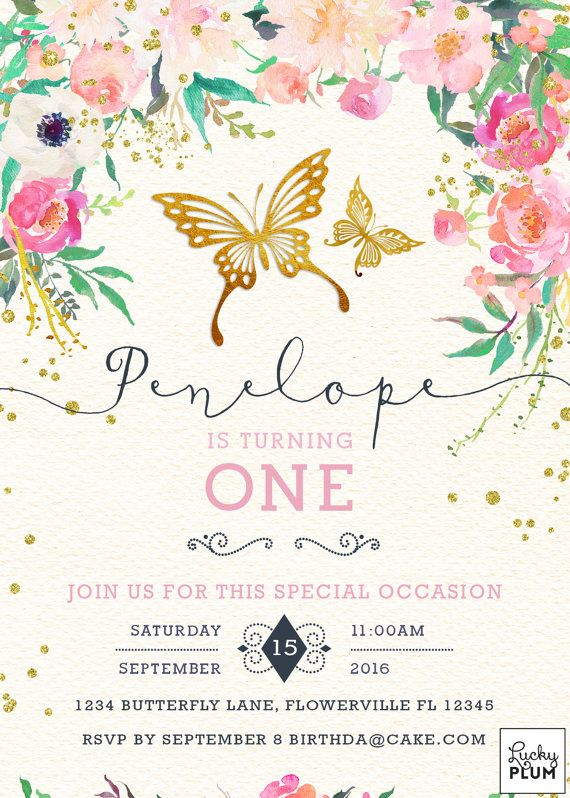 butterfly birthday invitation pink and gold first birthday