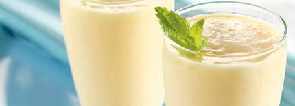 Easy Aloha Smoothie just 3 ing.  can tropical mixed fruit,vanilla yogurt, 1 cup ice cubes.  Combine in blender till smooth  Garnish w/mint spring if desired.