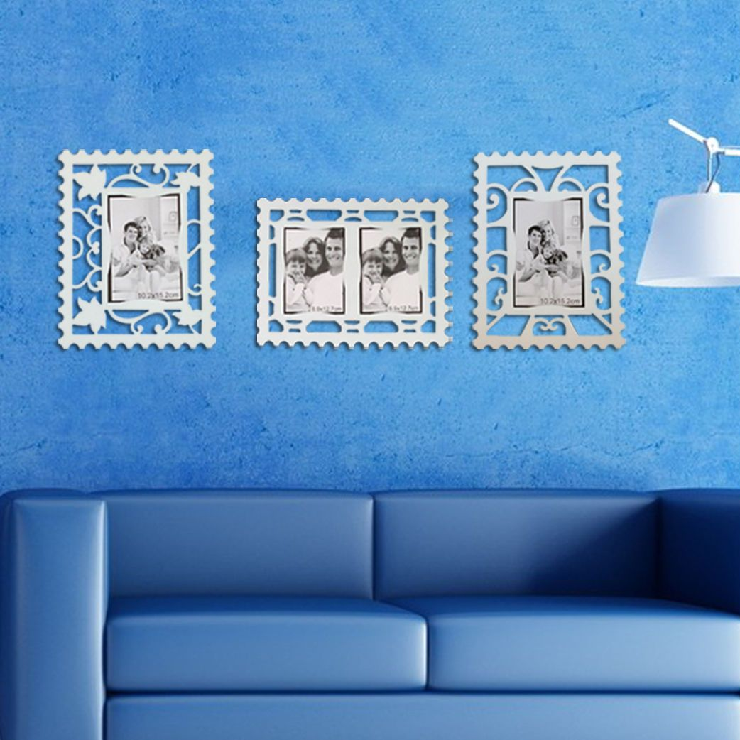 Set of 3 Wall Room Decor Removable Reusable Photo Frame Stickers White Stamp UK | eBay
