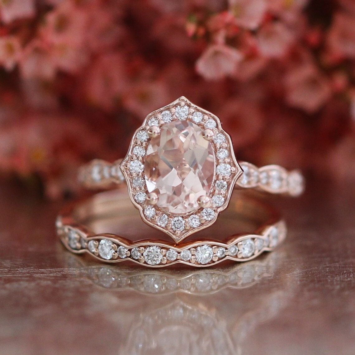Bridal Set Vintage Floral Oval Morganite Engagement Ring ...