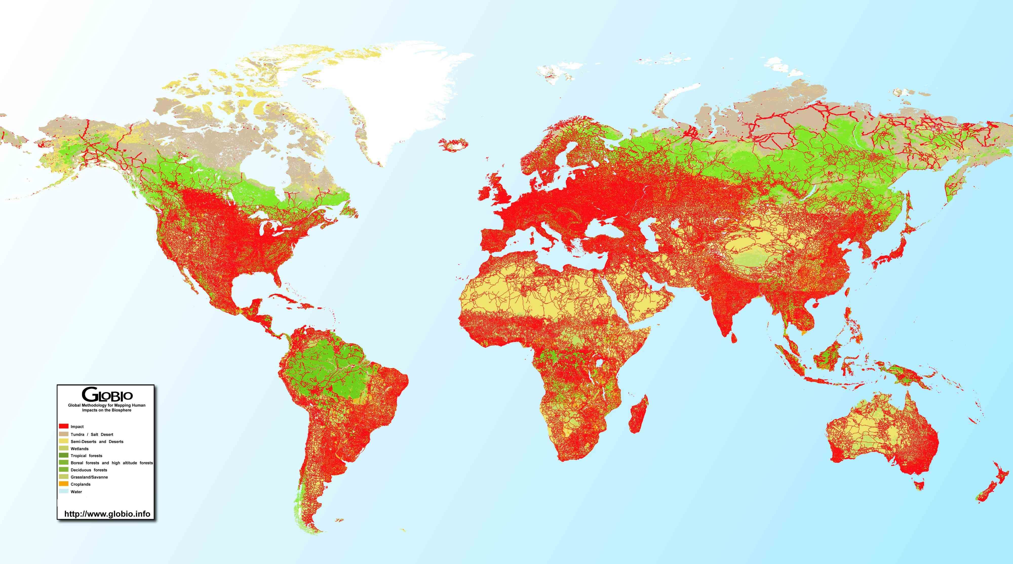 Global Human Impact Map, Detailed map, Infographic map