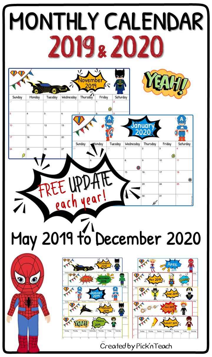 Calendar From May 2017 Through December 2020 SUPERHERO monthly CALENDAR 2019 & 2020   FREE update   { Classroom