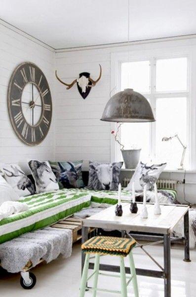 White retro living room in industrial interior design