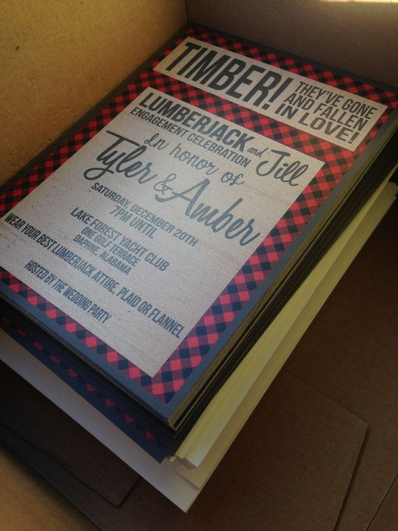 FREE SHIPPING Lumberjack Invitations Engagement Party Wedding - free engagement invitations