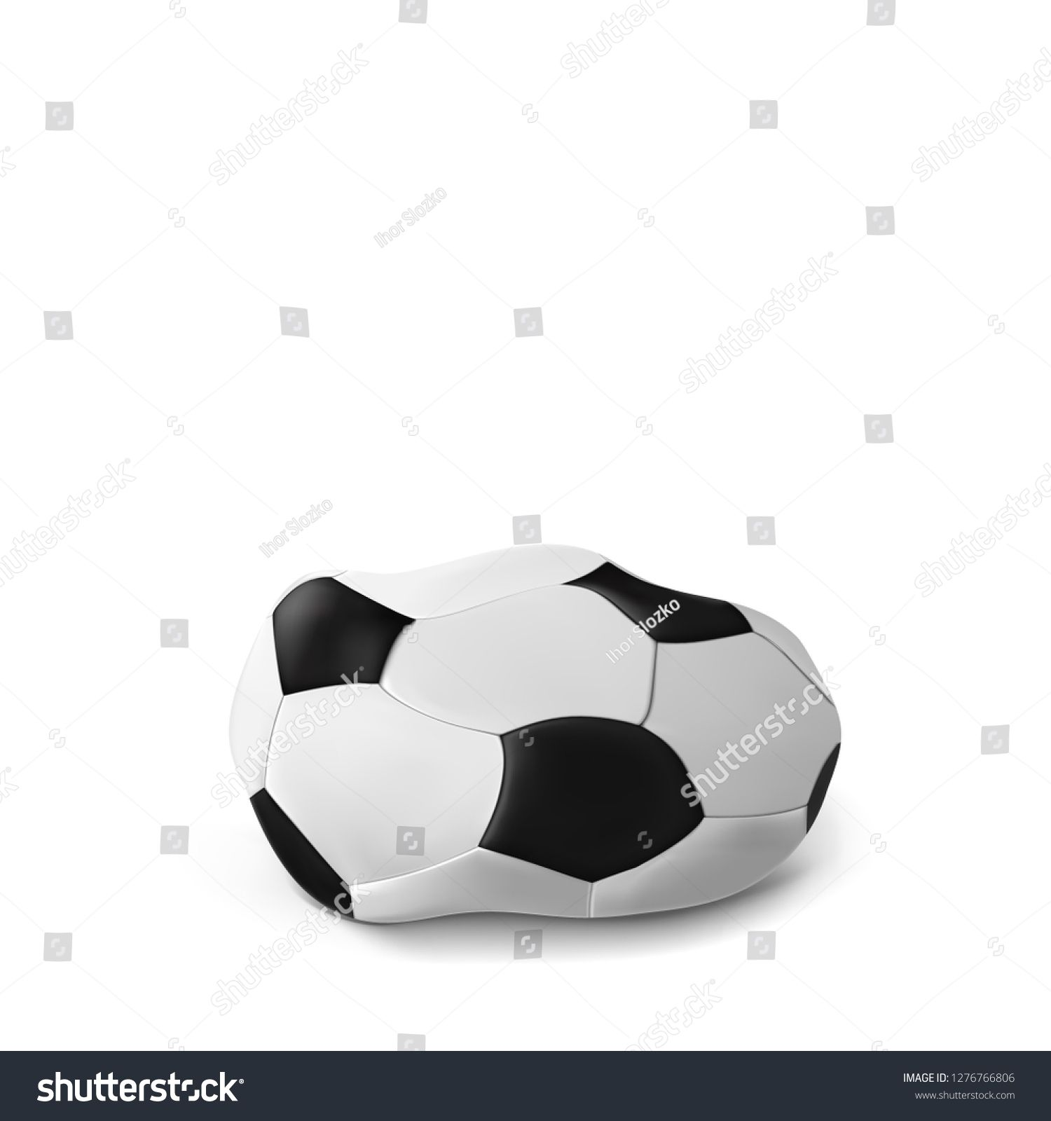 Download Realistic Deflated Football Soccer Ball Isolated On White Background Vector Illustration Of The Deflated Ball Classic Design Ad Soccer Ball Soccer Football