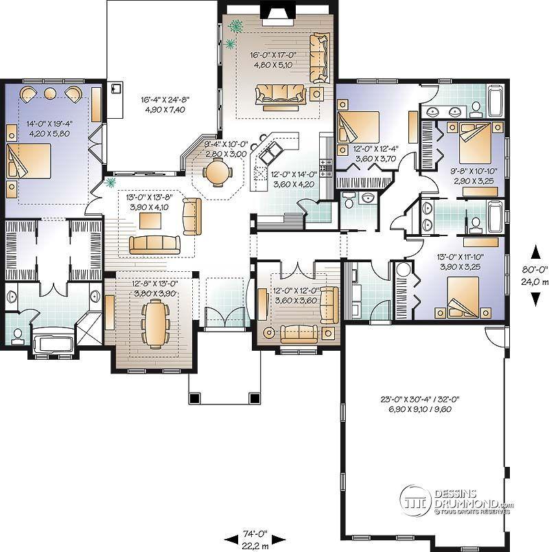 Détail du plan de Maison unifamiliale W3255 Plans De Maison - plan de maison design