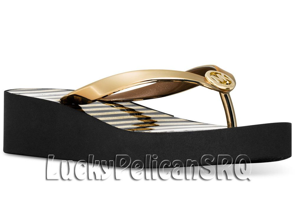 51d2daea2eb Michael Kors Bedford Shiny Platform Flip-Flops Sandals Gold M(Medium)NWB   MichaelKors  FlipFlops