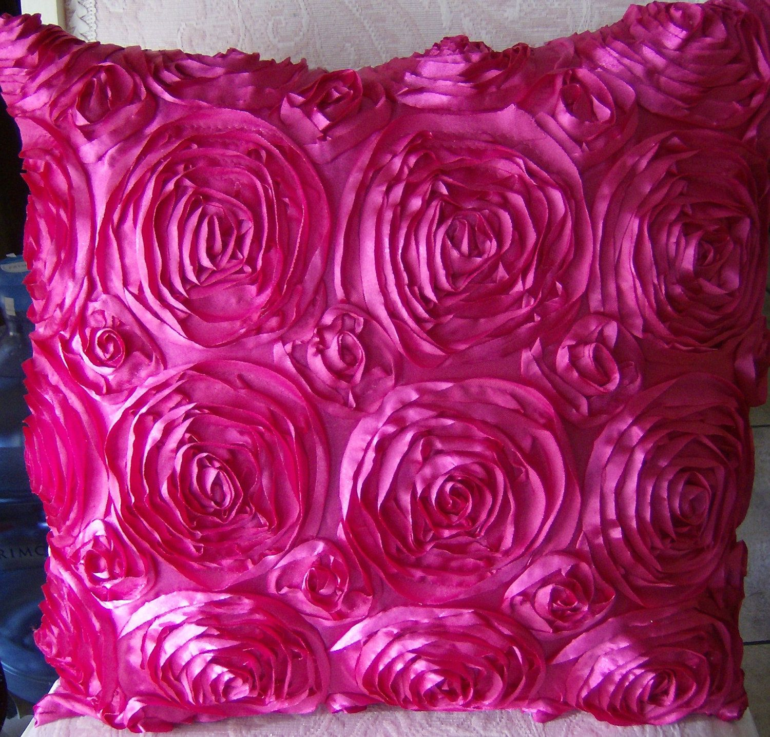 Hot Pink Satin Roses pillow CASE Shabby chic, vintage accent decor ...