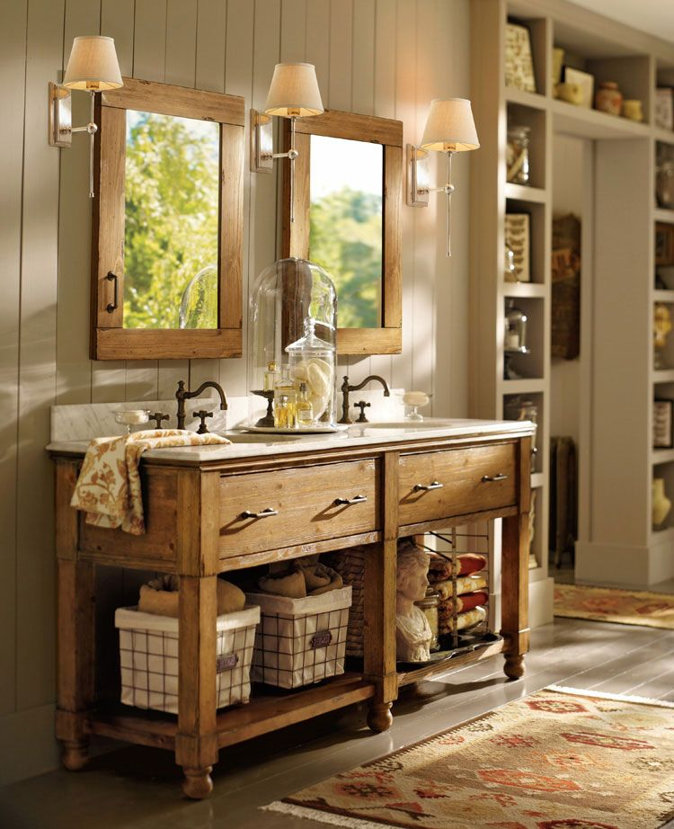 Love this piece for the bath. Also LOVE THE SHELVES ON THE ...