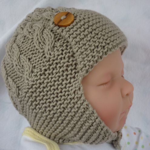 Baby Aviator Hat Knitting Pattern pdf - DAYTON - with cable design ... 23a4c981db9