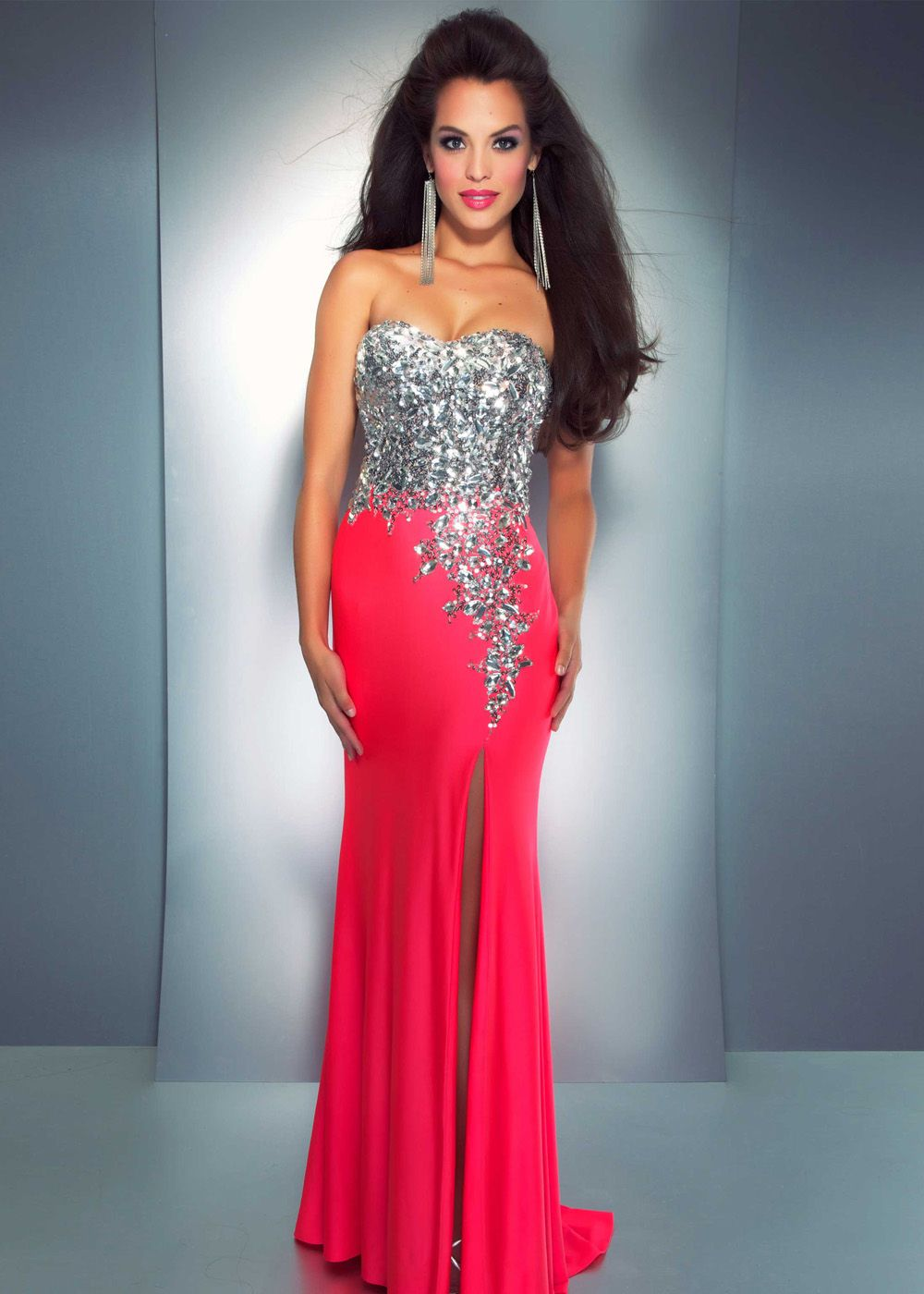 Strapless neon pink beaded prom gown with a high slit cassandra