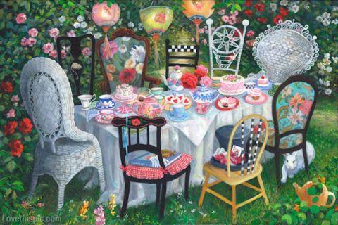 Alic In Wonderland Tea Party Painting Art Painting Tea Alice In