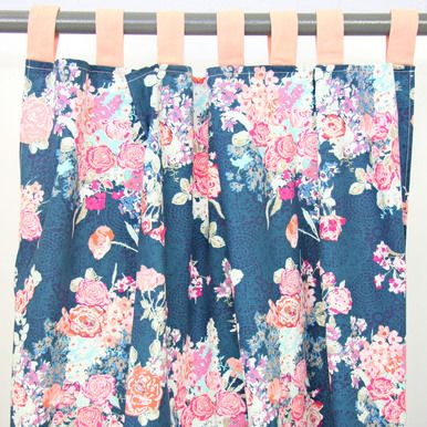 Wonderful Charlieu0027s Coral And Navy Floral Tabbed Top Curtain Panels