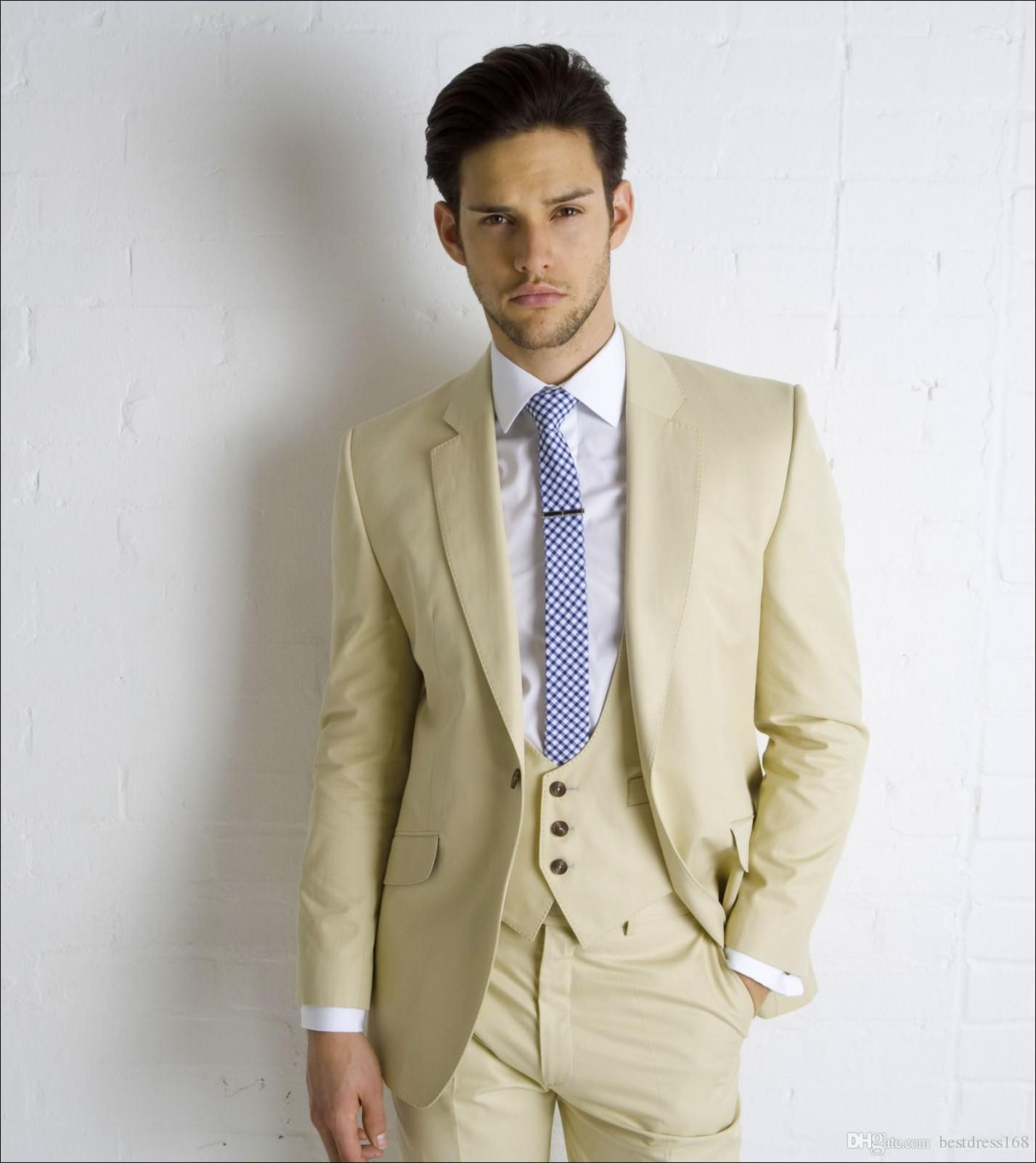 Beige Wedding Suits For Men Notched Lapel Formal Grooms Tuxedos ...