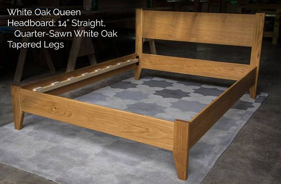 White Oak Simple Platform Bed Frame Straight Headboard Solid