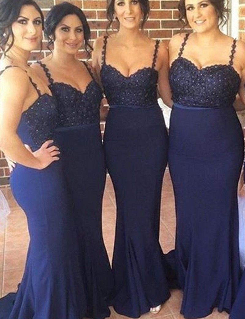 Glamorous spaghetti straps sleeveless beading mermaid long 2017 bridesmaid dress long bridesmaid dress navy blue bridesmaid dress wedding party dress ombrellifo Images
