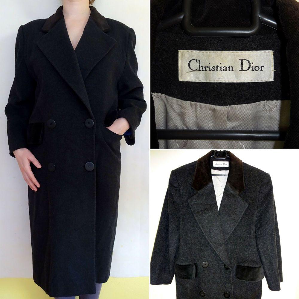 Christian Dior Wool Cashmere Coat Womens UK14 L Winter Long ...