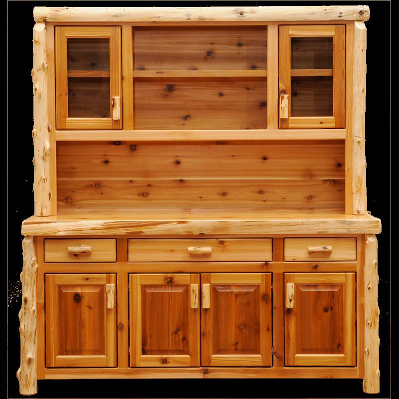 Rustic Kitchen Hutch: Cedar Buffet And Hutch Open Shelving Quality Wood Western
