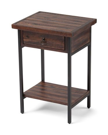 Acacia And Steel End Table TJmaxx