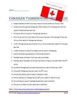 picture regarding Thanksgiving Quiz Printable named Canadian Thanksgiving Real/Fake Quiz Canadian