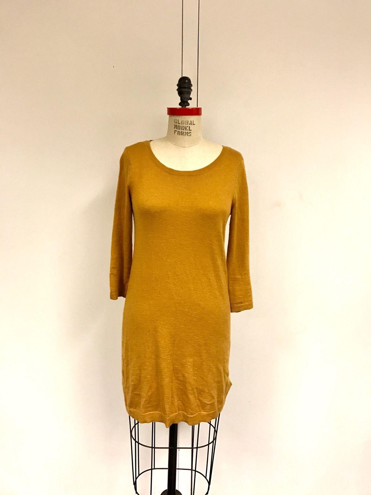 Burnt orange dress plus size  Awesome Amazing HuM Womens S Mustard Yellow Long Sleeve Sweater