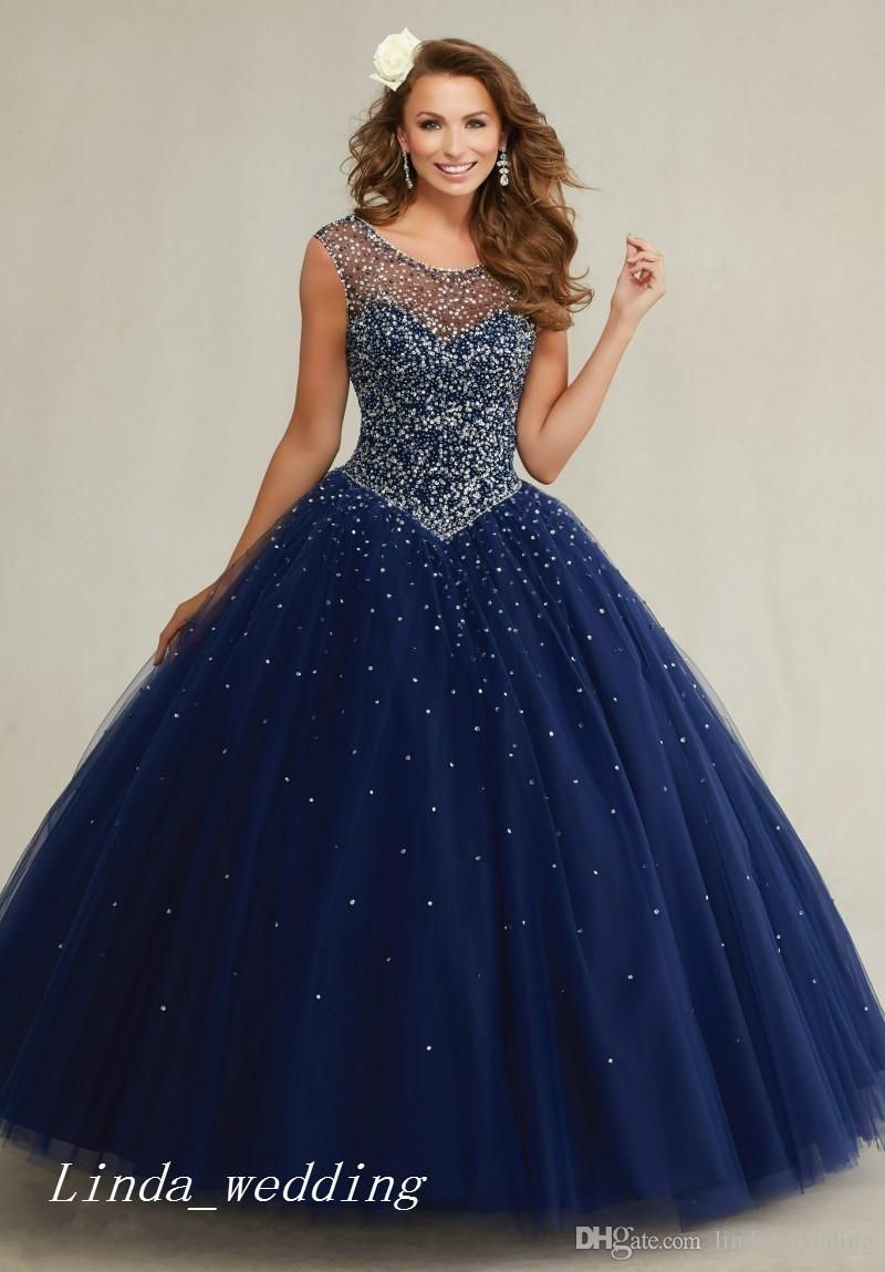 Gorgeous Navy Blue Mint Green Cream Long Masquerade Quinceanera Dresses  Prom Dress Special Occasion Dress Evening Party Dress Women Wear 29943c48ce98