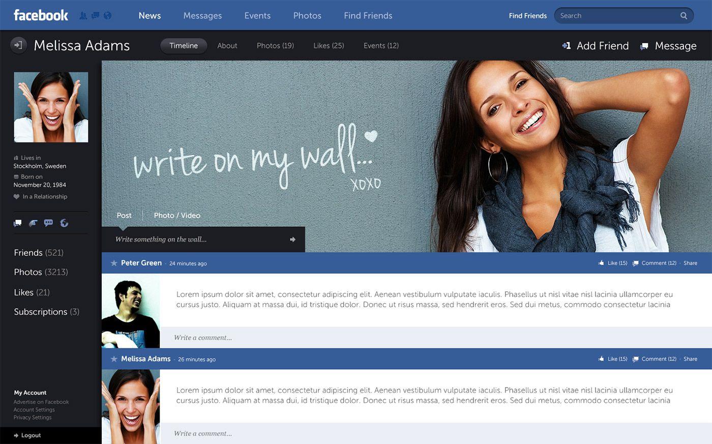 Facebook Design Concept Facebook Design Facebook News Interactive Design