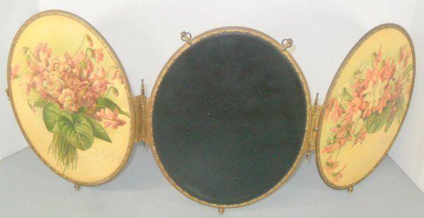 Victorian 1880s 3 Way Beveled Mirror Paul de Longpre Oval Celluoid Print