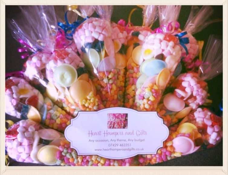Sweet cones £1.50 each. Facebook - Heart hampers and gifts ...