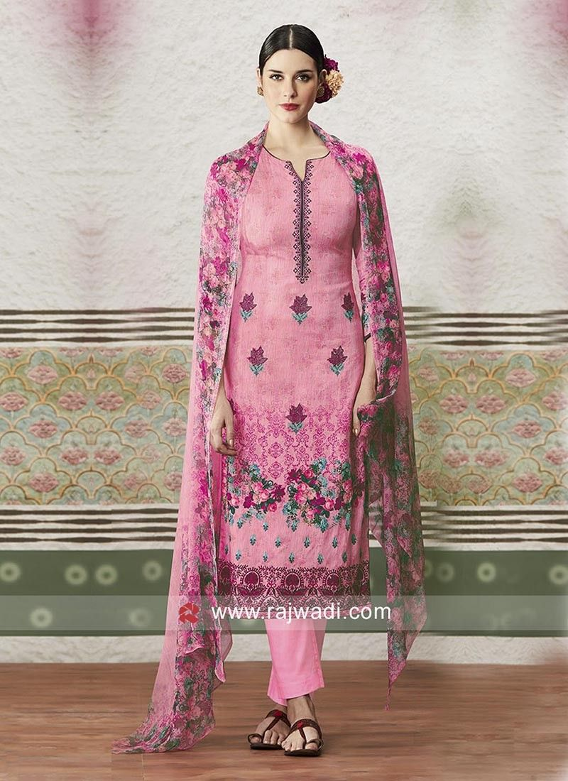 ce83ec680a Cotton Satin fabric printed Salwar Kameez comes with plain bottom and  Chiffon printed dupatta. This unstitched suit has embroidery work on neck.