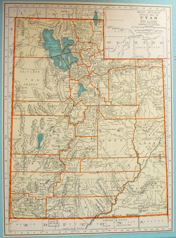 1937 Vintage Map of Utah - Vintage Utah Map - Utah Vintage Map