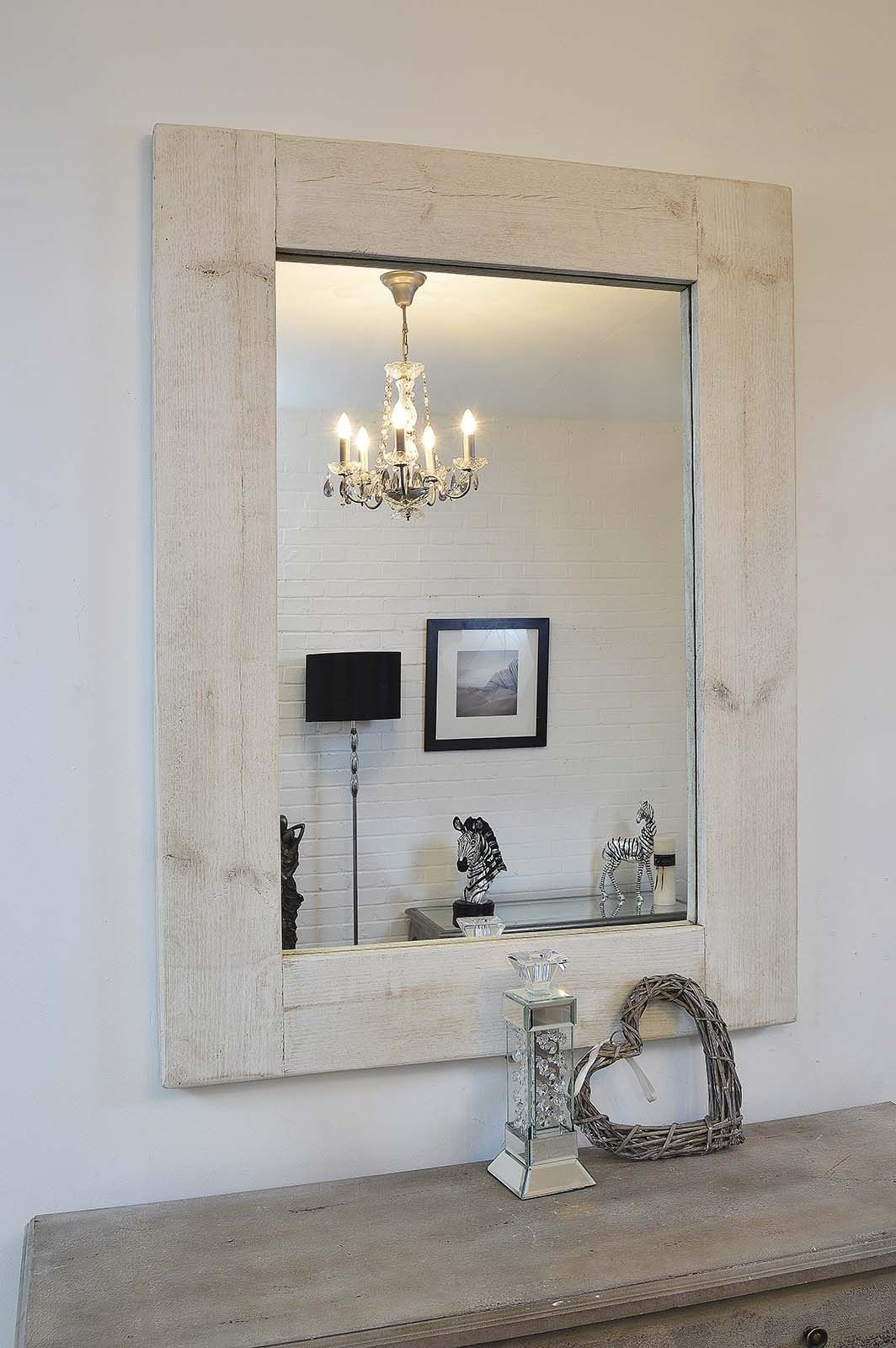Large rustic white solid wood wall mirror 4ft x 3ft 122cm x 91cm large rustic white solid wood wall mirror 4ft x 3ft 122cm x 91cm amipublicfo Choice Image