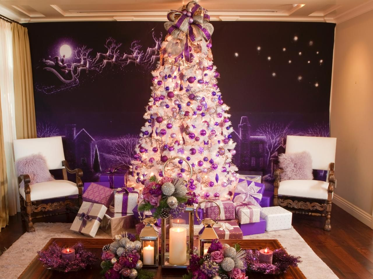 Purple silver and white christmas decorations - Retro Inspired Purple And White Christmas Decorations