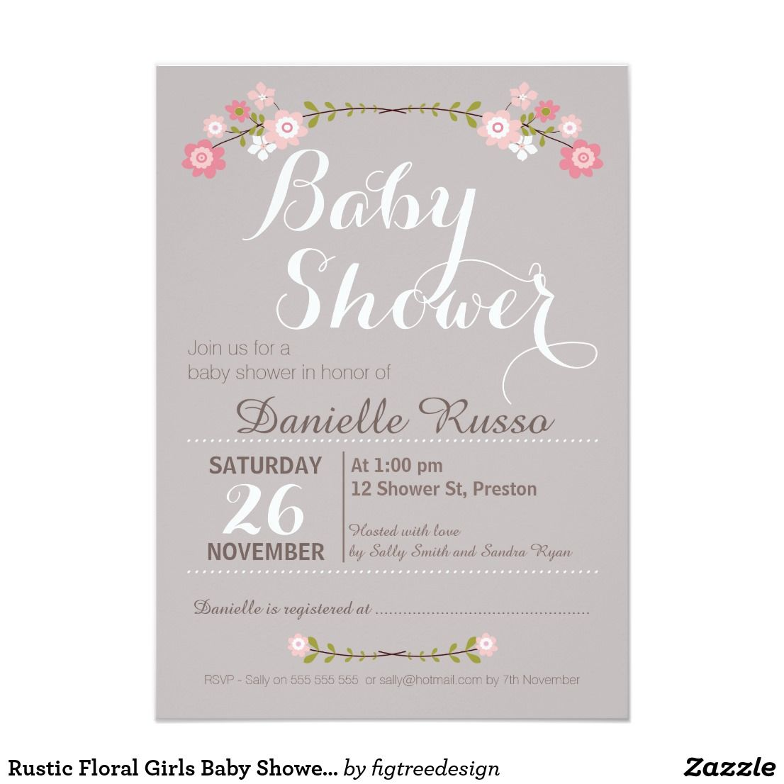 Rustic Floral Girls Baby Shower Invitation Baby Shower Ideas