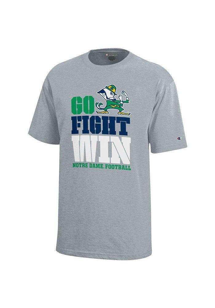 83a3ed10 Notre Dame Fighting Irish Youth Grey Go Fight Win Short Sleeve T-Shirt, Grey
