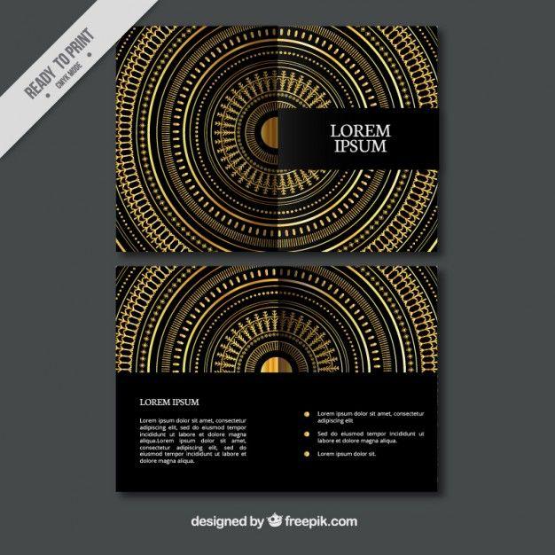 Decorativo dourado círculos panfleto Vetor grátis