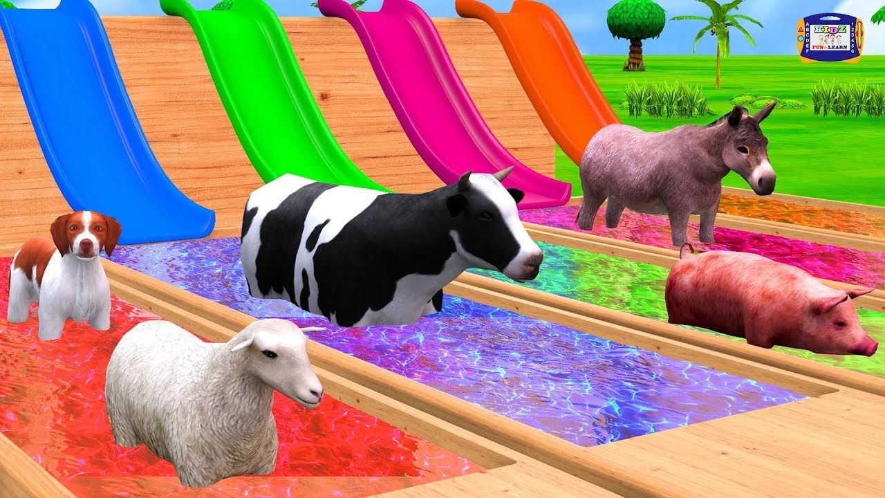 Farm Animals Colors Water Slide Swimming Pool for Children